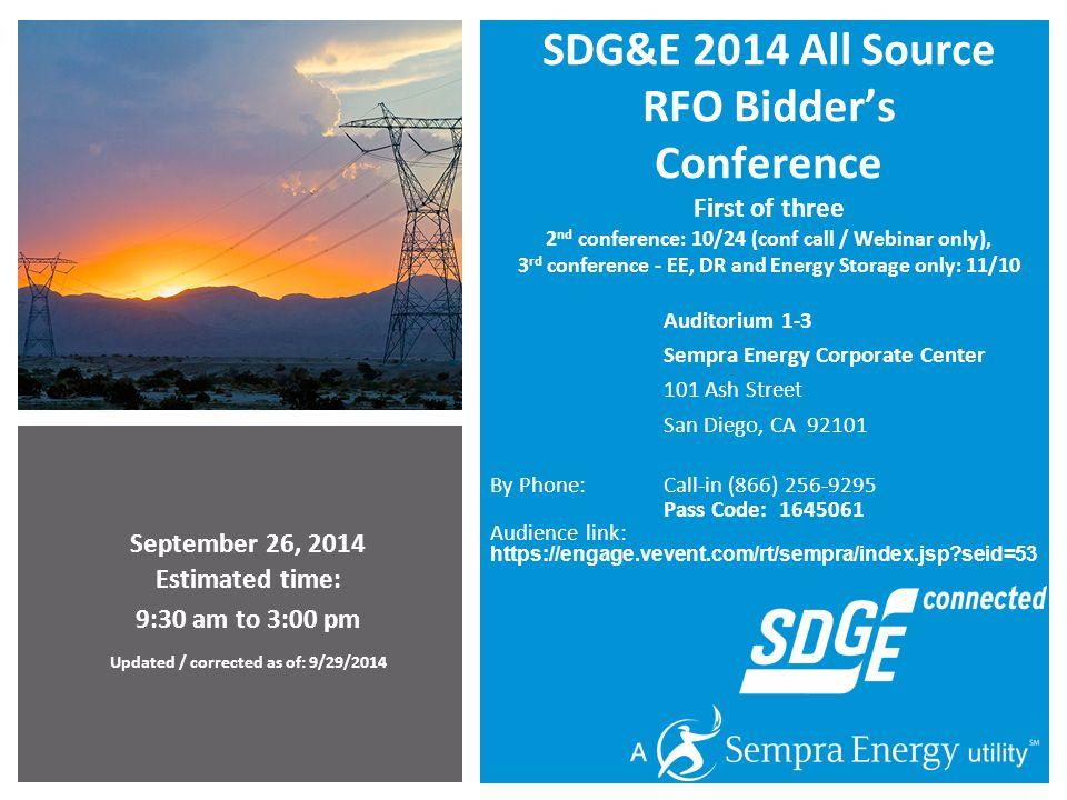 SDG&E 2014 All Source RFO Bidder's Conference