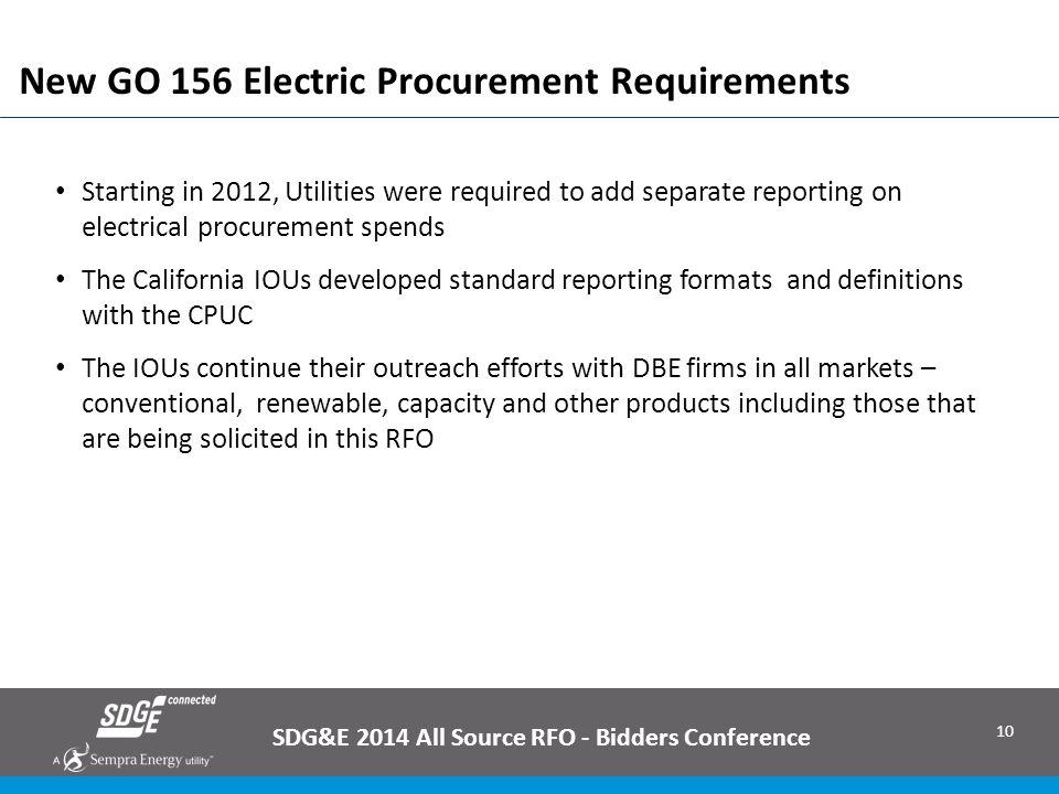 New GO 156 Electric Procurement Requirements