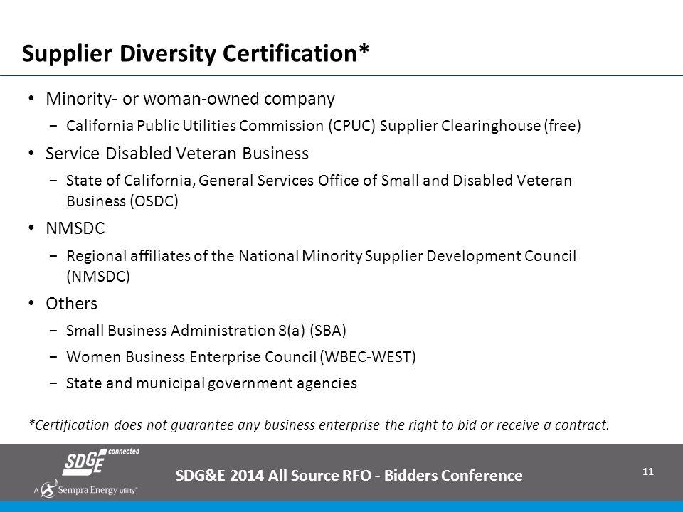 Supplier Diversity Certification*