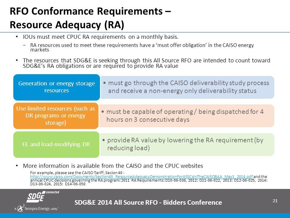 RFO Conformance Requirements – Resource Adequacy (RA)