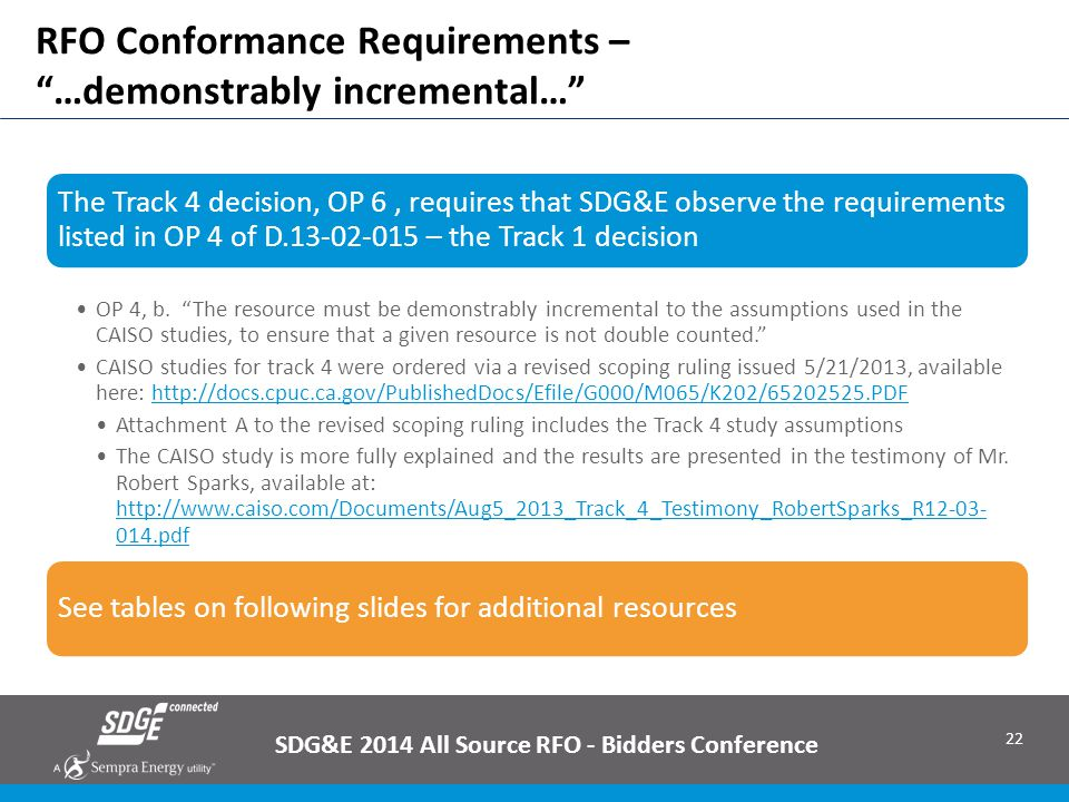 RFO Conformance Requirements – …demonstrably incremental…