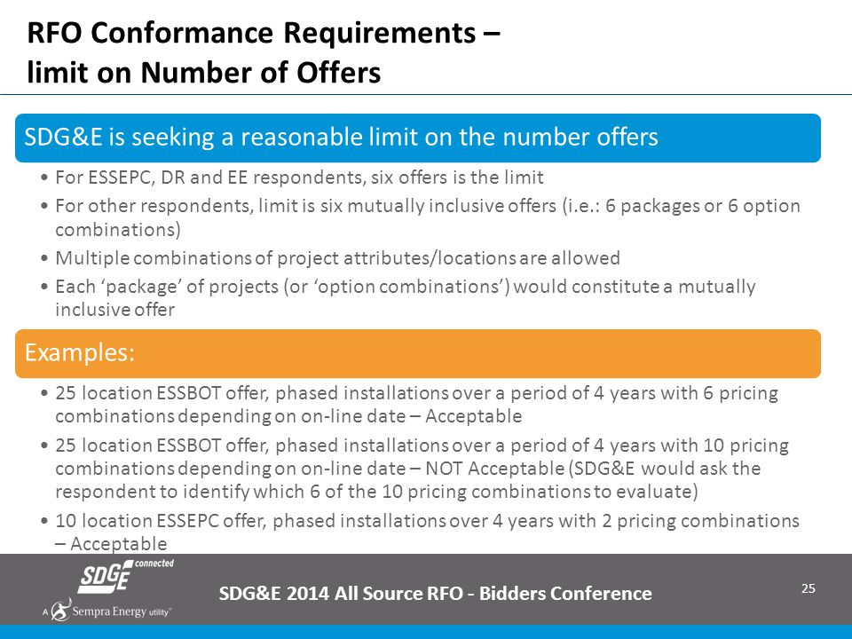 RFO Conformance Requirements – limit on Number of Offers