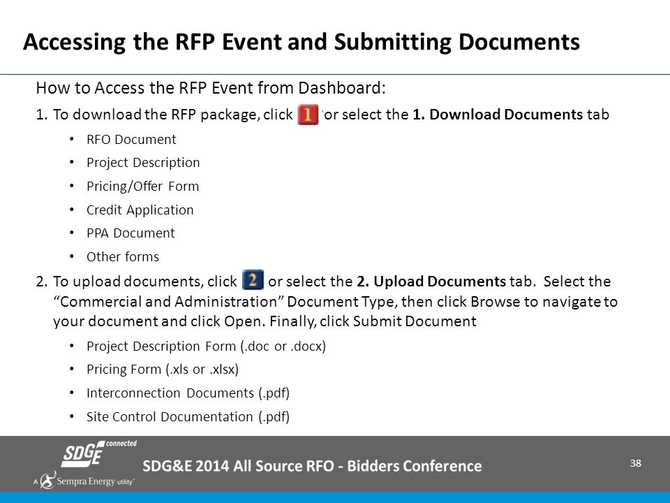 Accessing the RFP Event and Submitting Documents