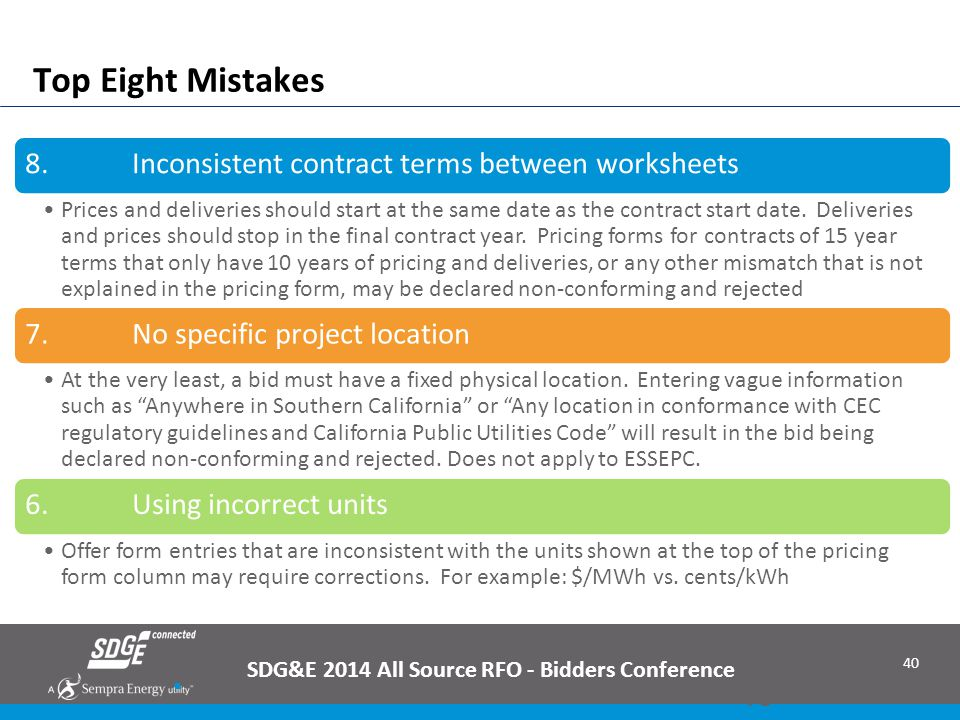 Top Eight Mistakes SDG&E 2014 All Source RFO - Bidders Conference