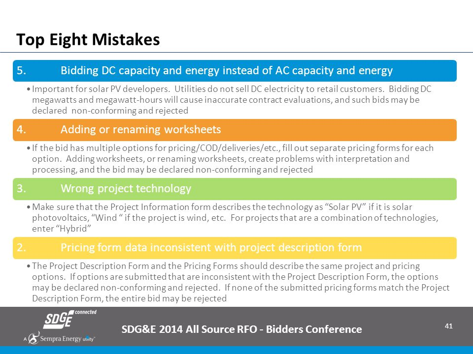 SDG&E 2014 All Source RFO - Bidders Conference