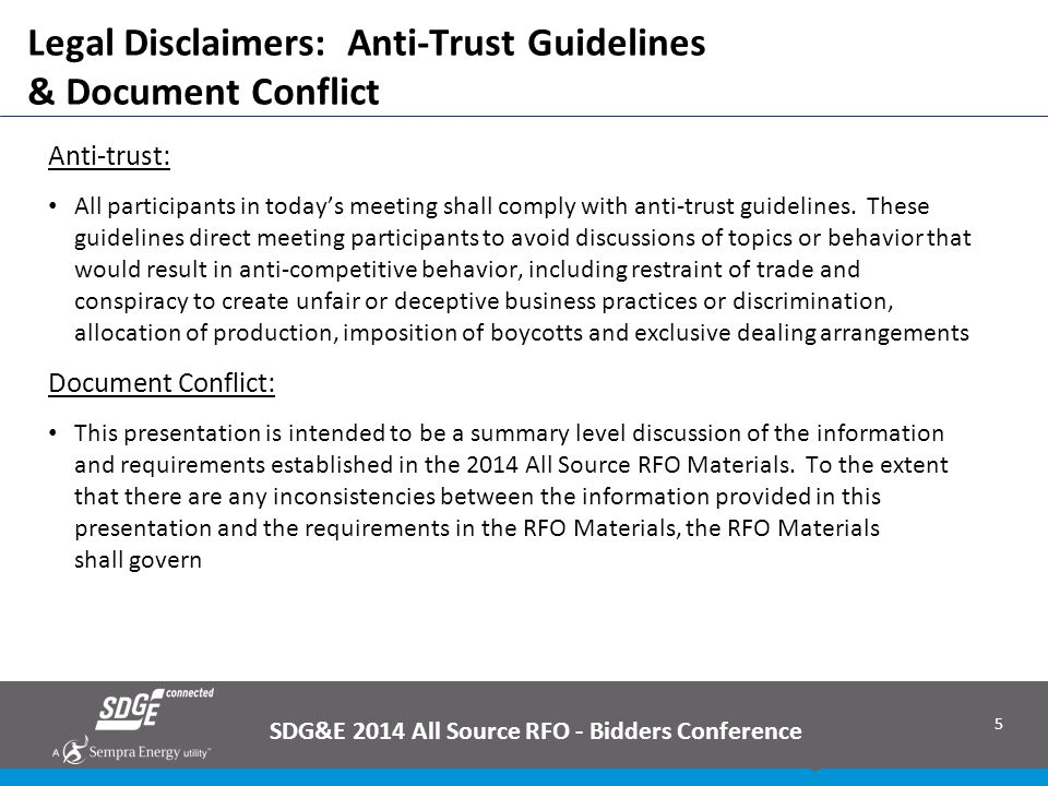Legal Disclaimers: Anti-Trust Guidelines & Document Conflict