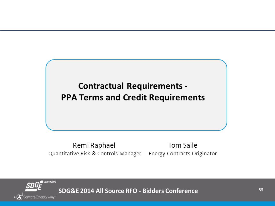 Contractual Requirements - PPA Terms and Credit Requirements
