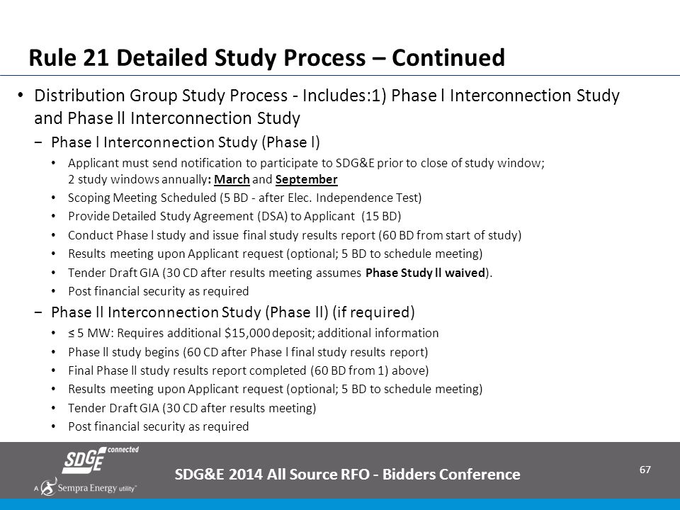 Rule 21 Detailed Study Process – Continued