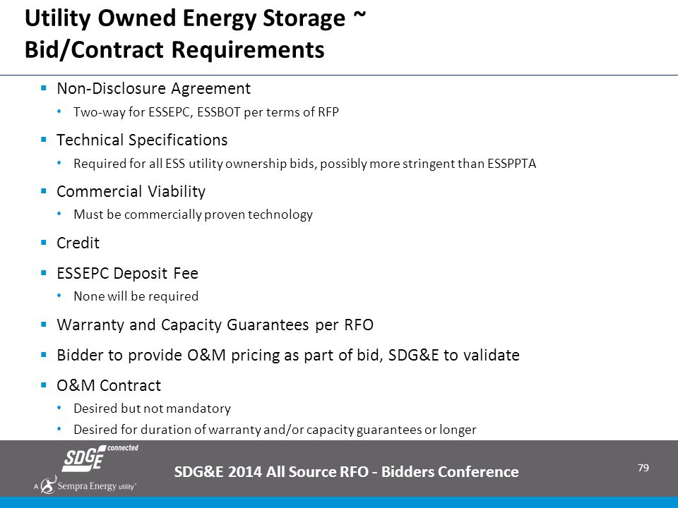 Utility Owned Energy Storage ~ Bid/Contract Requirements