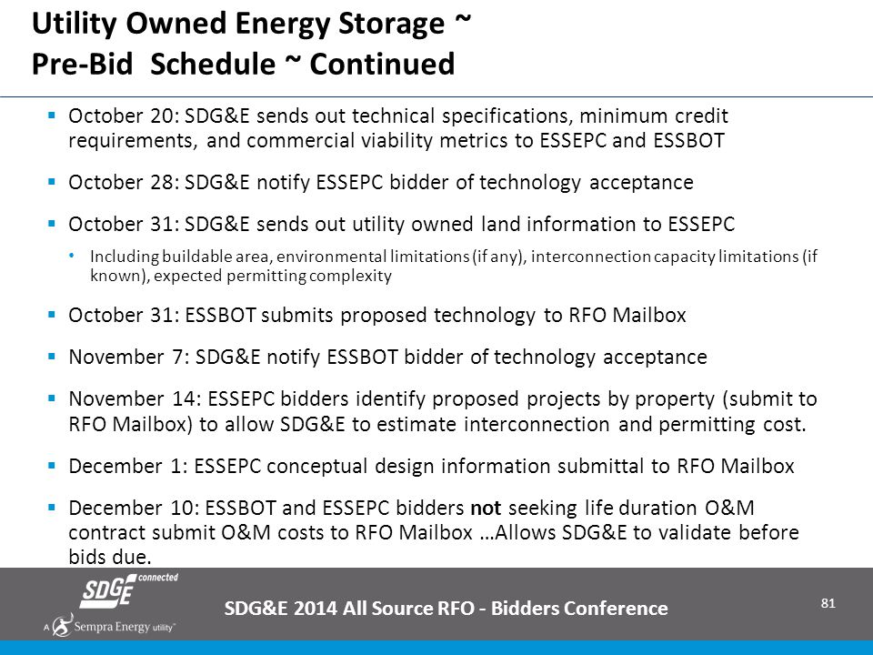 Utility Owned Energy Storage ~ Pre-Bid Schedule ~ Continued
