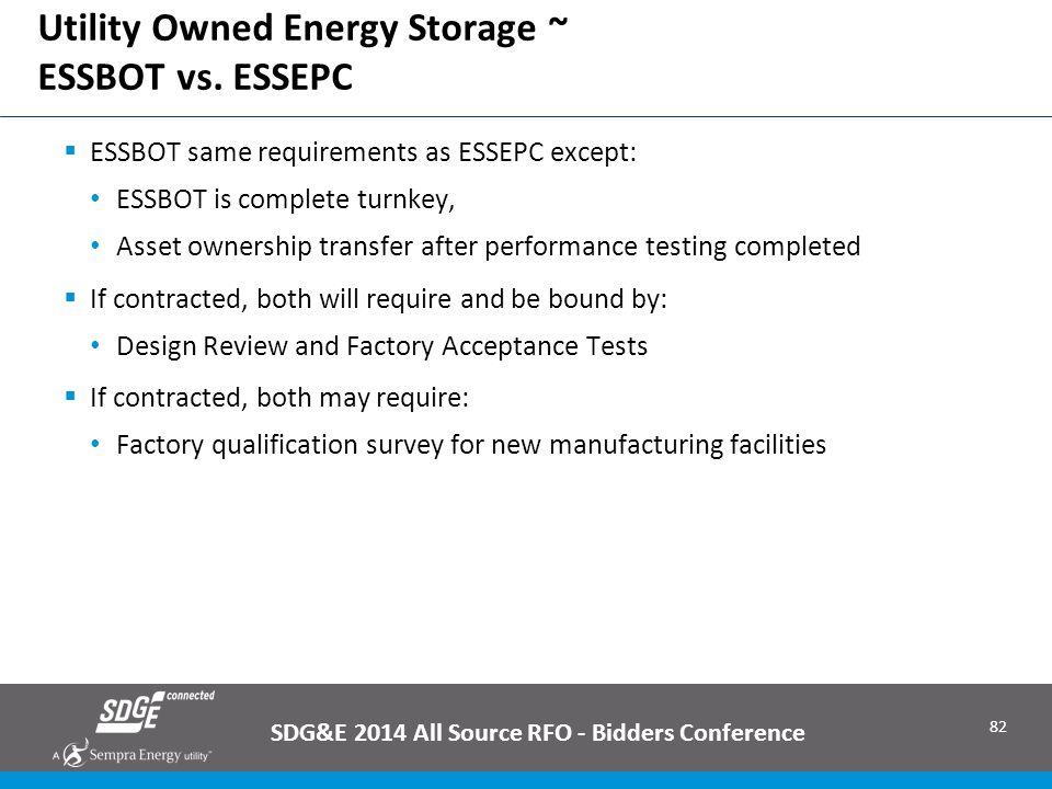 Utility Owned Energy Storage ~ ESSBOT vs. ESSEPC