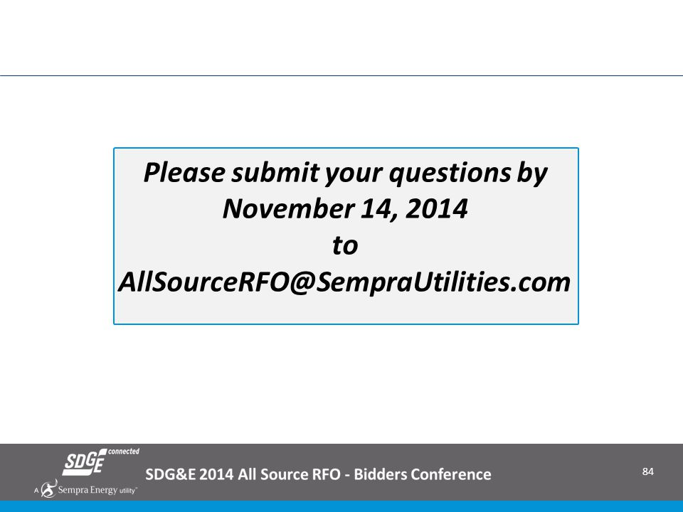 Please submit your questions by November 14, 2014 to