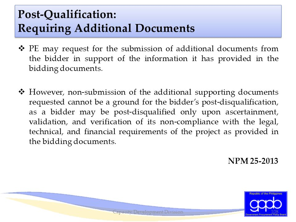 Post-Qualification: Requiring Additional Documents