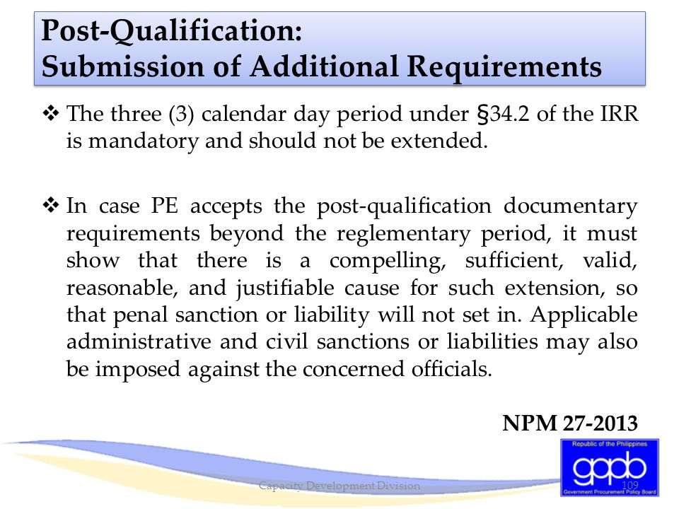Post-Qualification: Submission of Additional Requirements