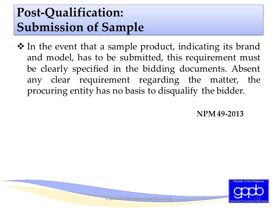 Post-Qualification: Submission of Sample