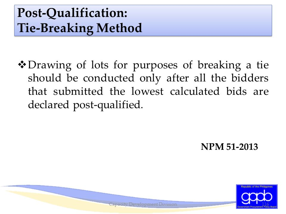 Post-Qualification: Tie-Breaking Method