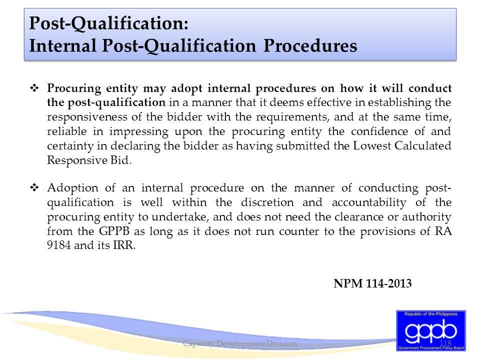 Post-Qualification: Internal Post-Qualification Procedures