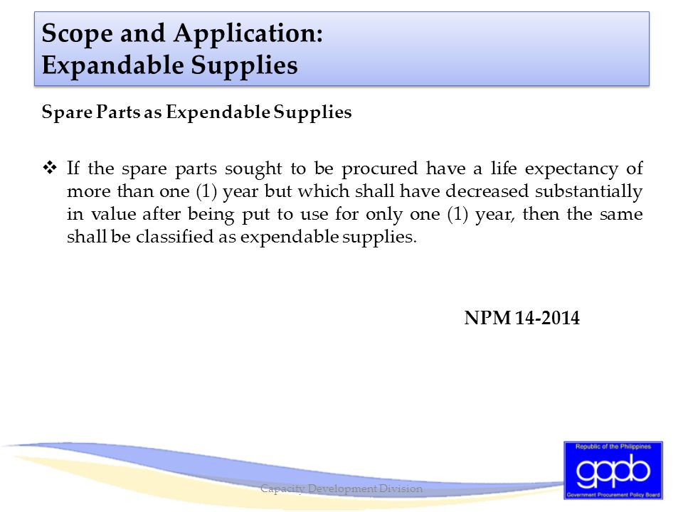 Scope and Application: Expandable Supplies