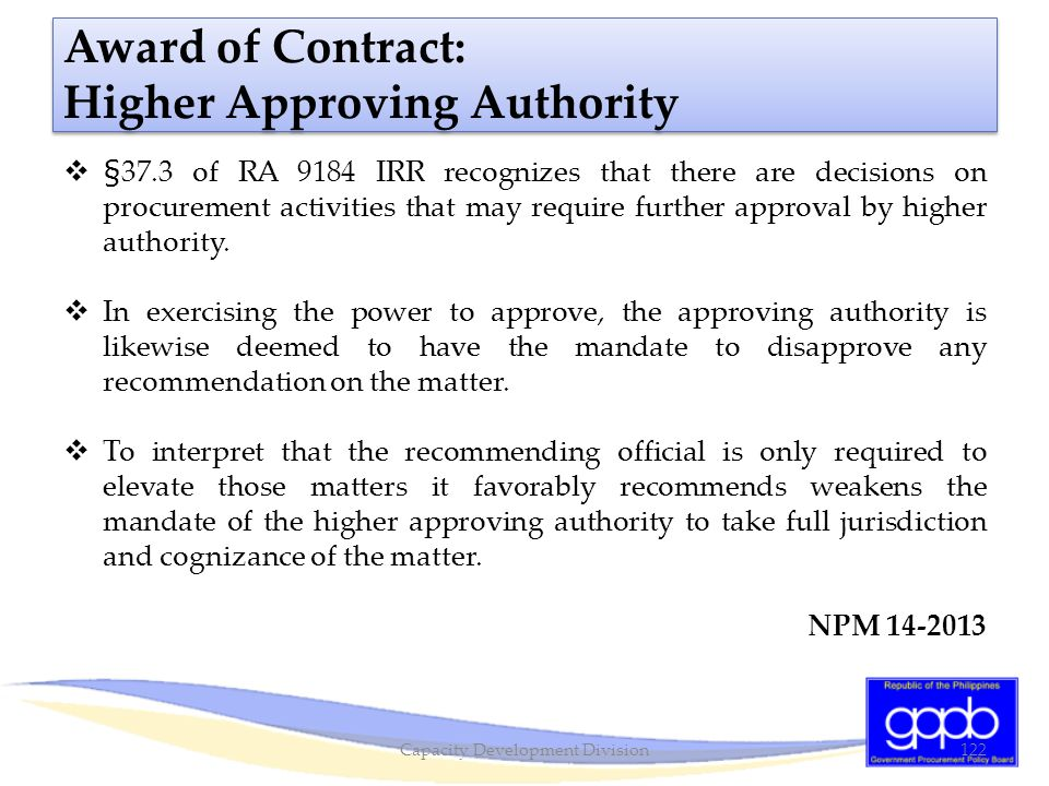 Award of Contract: Higher Approving Authority