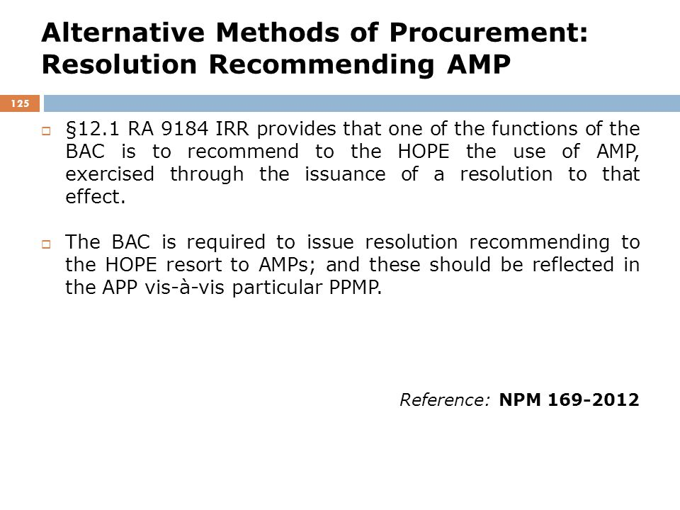 Alternative Methods of Procurement: Resolution Recommending AMP