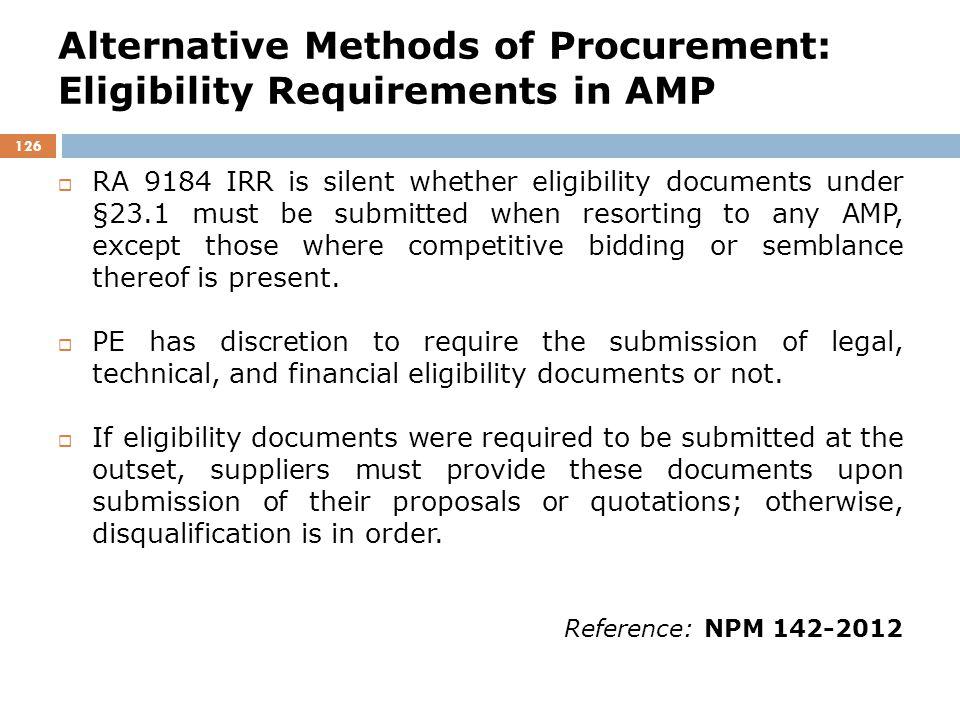 Alternative Methods of Procurement: Eligibility Requirements in AMP