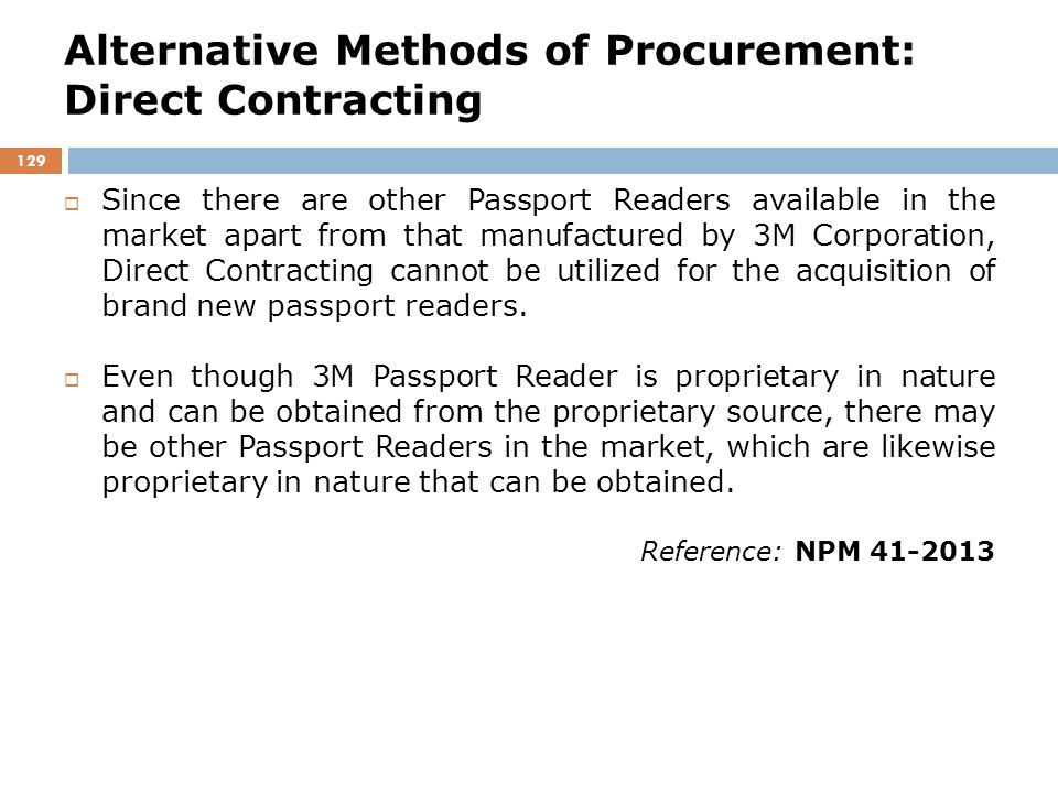 Alternative Methods of Procurement: Direct Contracting