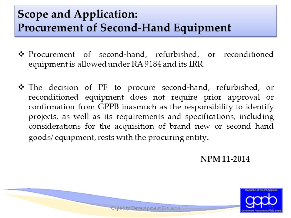Scope and Application: Procurement of Second-Hand Equipment