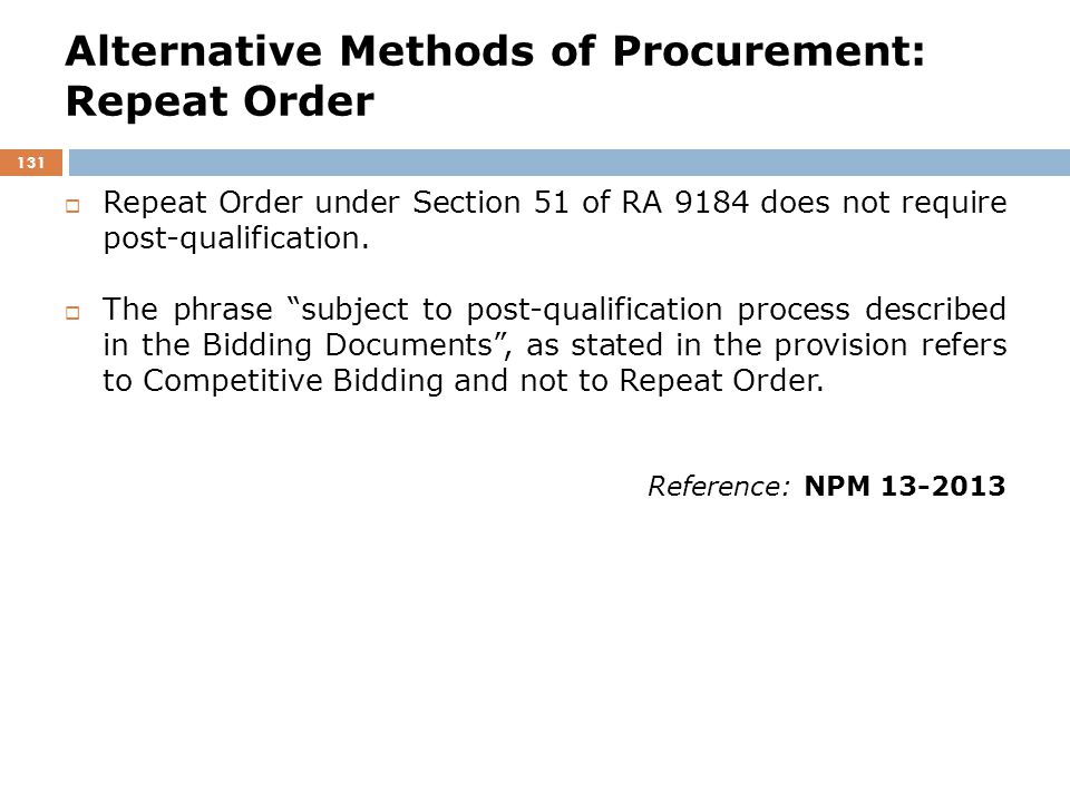 Alternative Methods of Procurement: Repeat Order