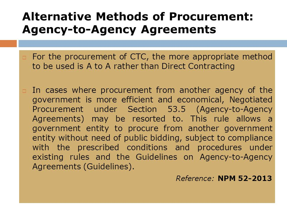 Alternative Methods of Procurement: Agency-to-Agency Agreements