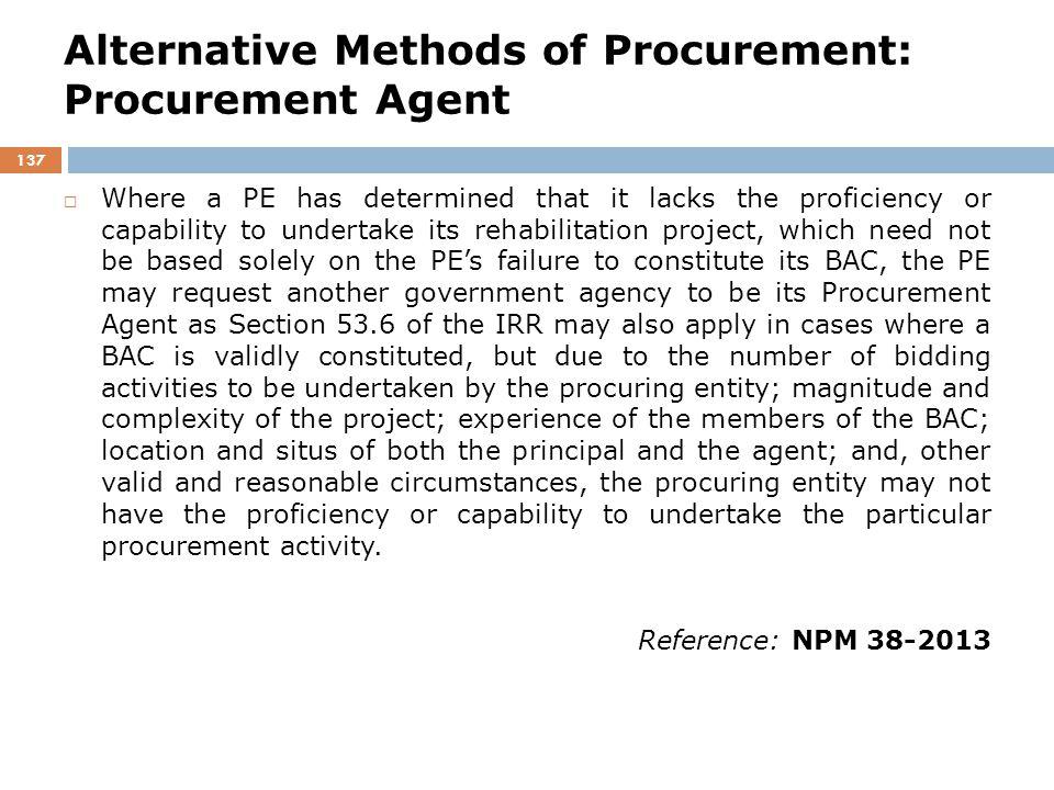 Alternative Methods of Procurement: Procurement Agent