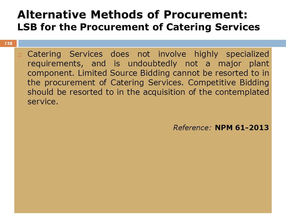 Alternative Methods of Procurement: LSB for the Procurement of Catering Services