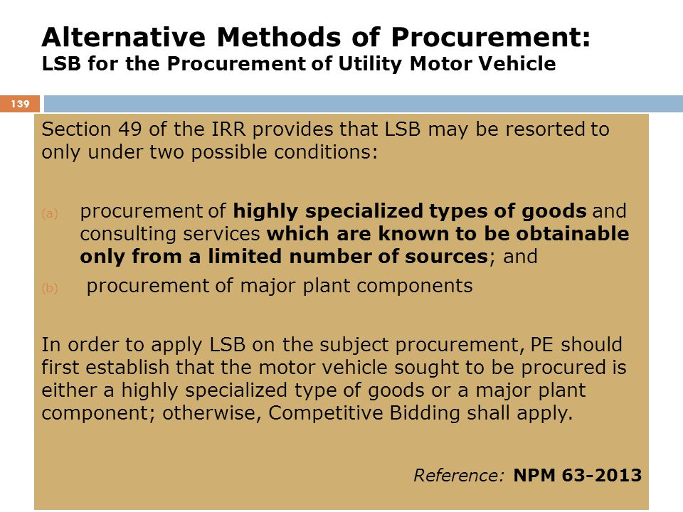 Alternative Methods of Procurement: LSB for the Procurement of Utility Motor Vehicle