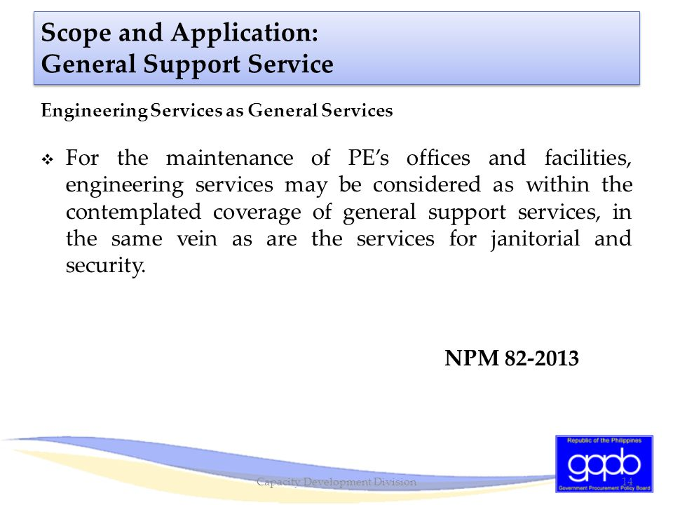 Scope and Application: General Support Service