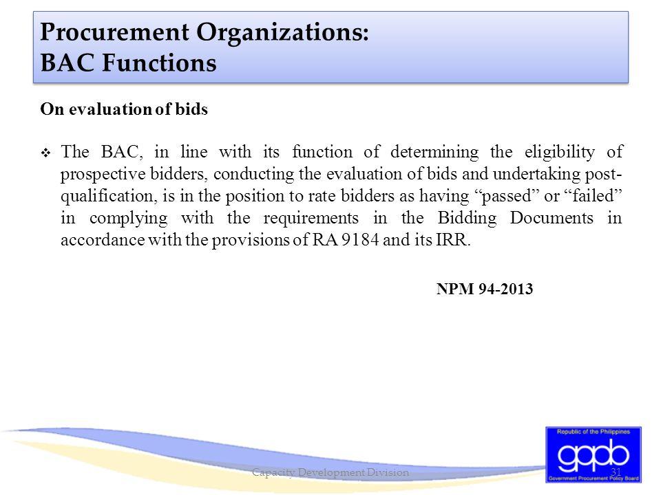 Procurement Organizations: BAC Functions