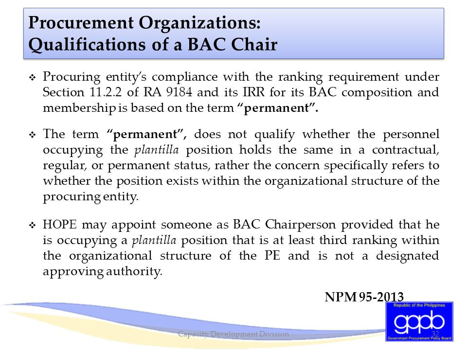 Procurement Organizations: Qualifications of a BAC Chair