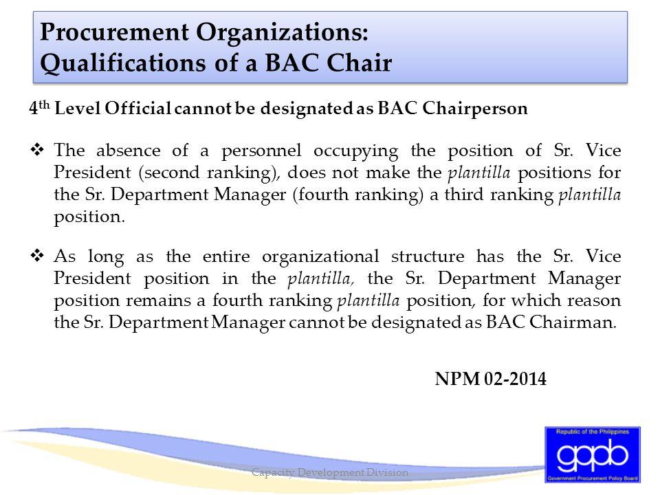 Procurement Organizations: Qualifications of a BAC Chair