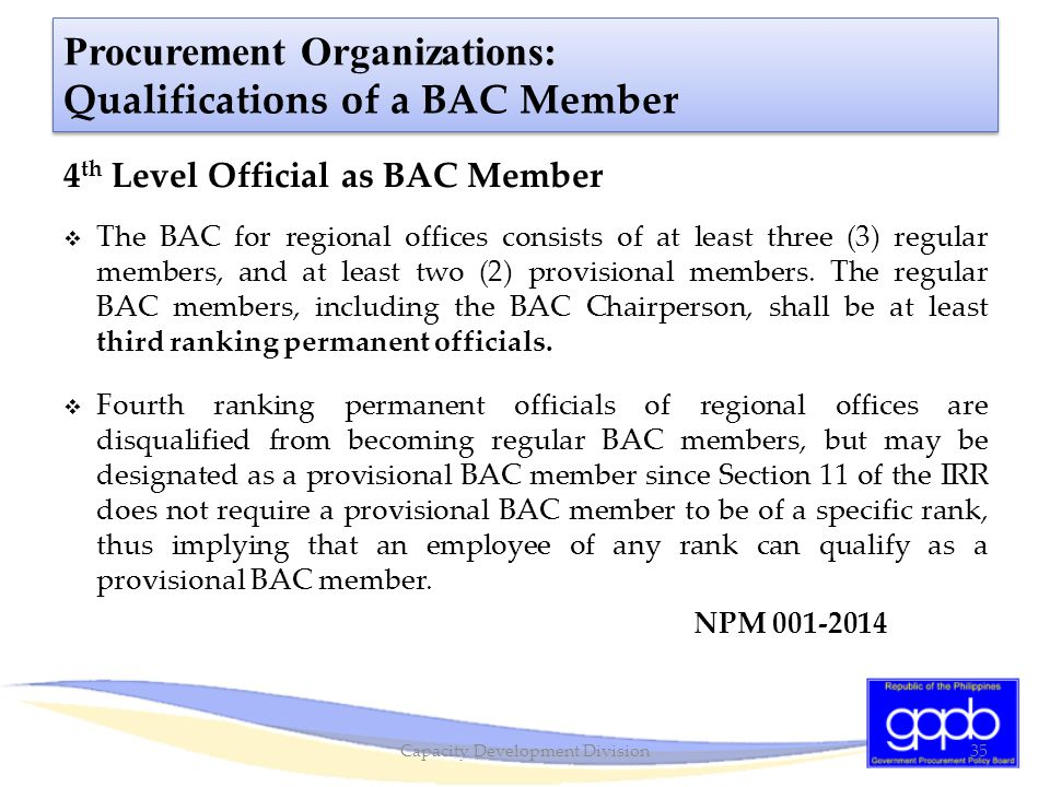 Procurement Organizations: Qualifications of a BAC Member