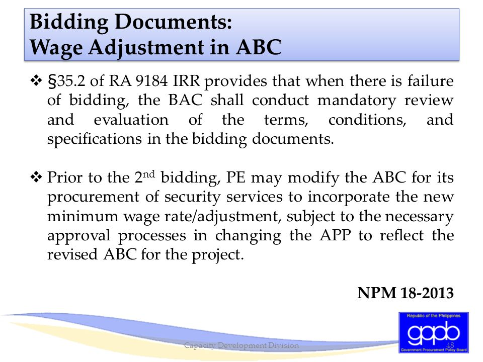 Bidding Documents: Wage Adjustment in ABC