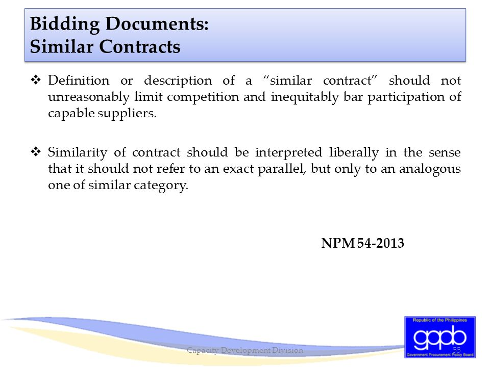 Bidding Documents: Similar Contracts