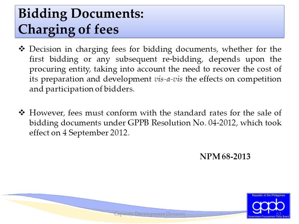 Bidding Documents: Charging of fees
