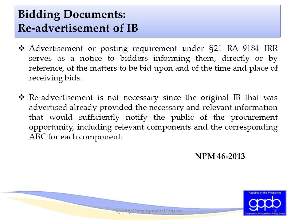 Bidding Documents: Re-advertisement of IB