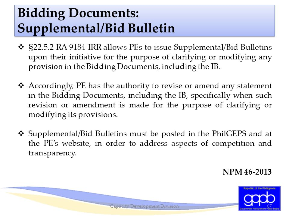 Bidding Documents: Supplemental/Bid Bulletin