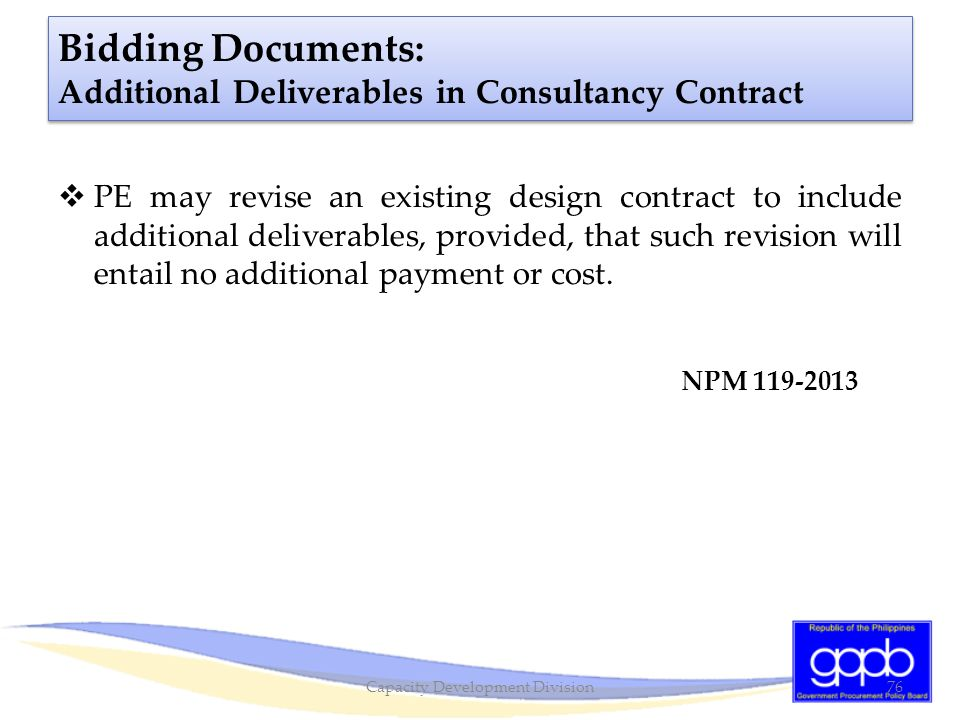 Bidding Documents: Additional Deliverables in Consultancy Contract