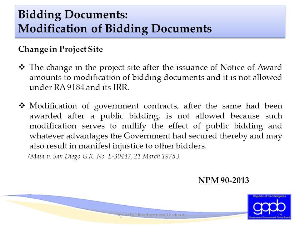 Bidding Documents: Modification of Bidding Documents