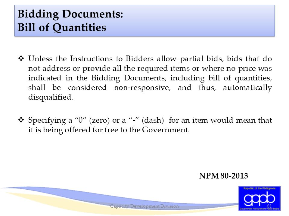 Bidding Documents: Bill of Quantities