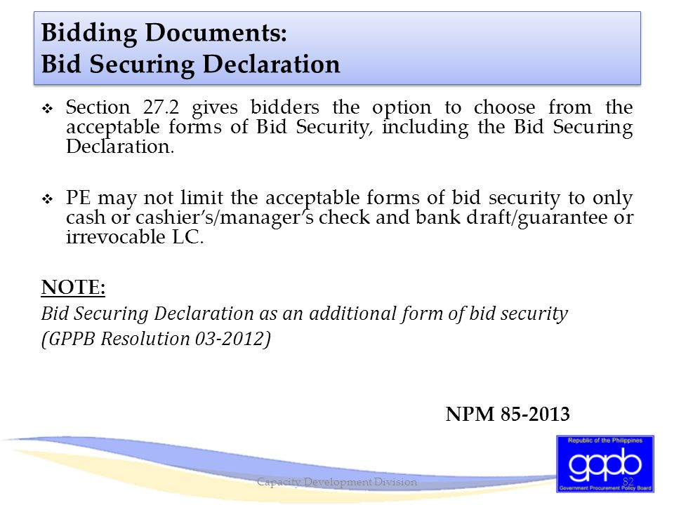 Bidding Documents: Bid Securing Declaration