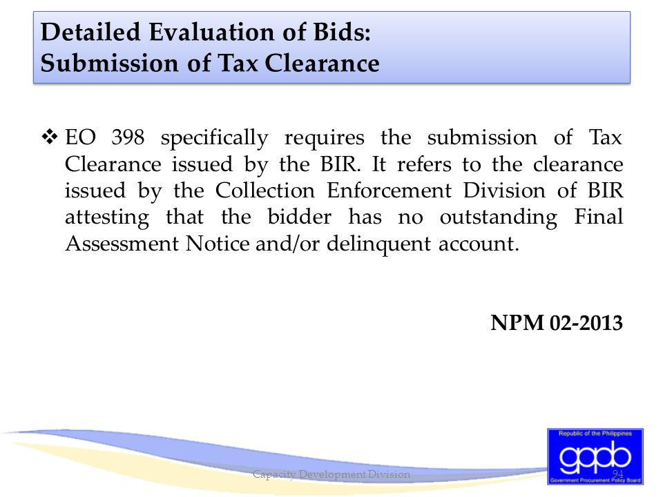 Detailed Evaluation of Bids: Submission of Tax Clearance
