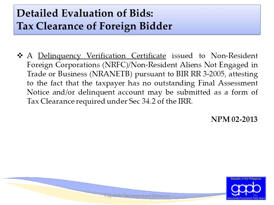 Detailed Evaluation of Bids: Tax Clearance of Foreign Bidder