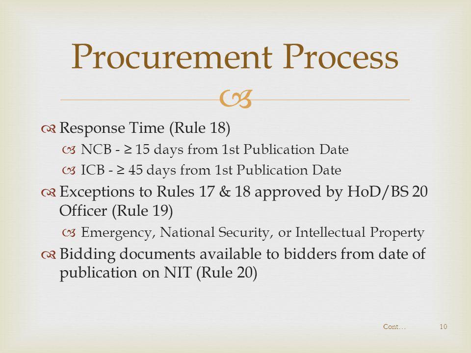 Procurement Process Response Time (Rule 18)