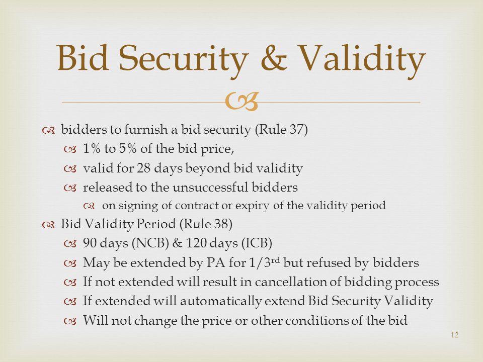 Bid Security & Validity